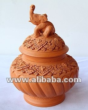 Clay Jar (with an 'Elephant on top' lid)