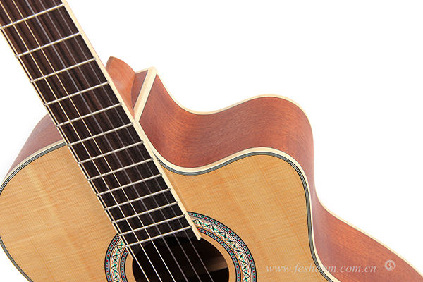 Matt Finish 39 Inch Cutaway classical Guitar with Soundhole Pickup