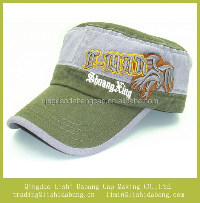 military Green flat top hat cotton material military hat