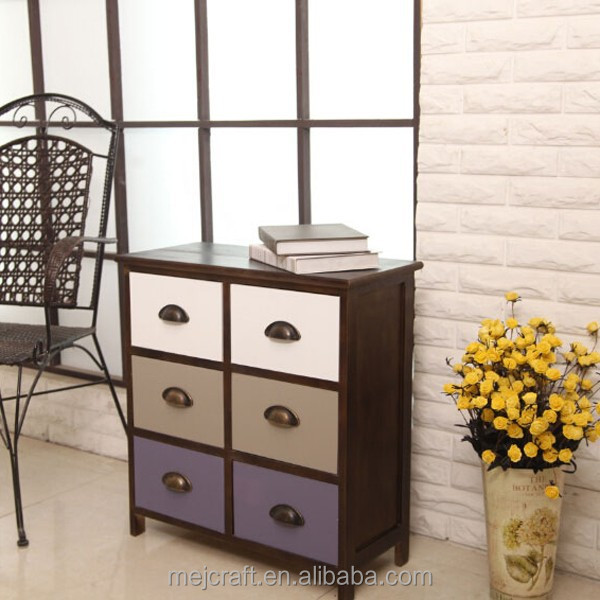 6 drawer wooden cabinet rustic home furniture wholesale
