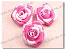 Handmade rose make satin ribbon flowers