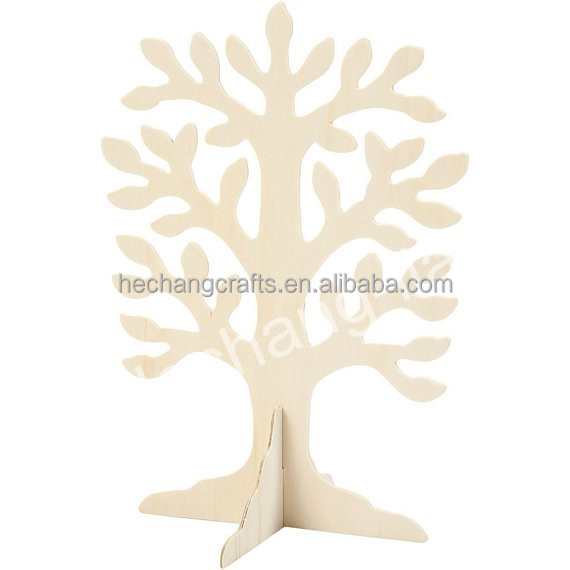 Stand Up 3D Plain Wooden Tree to Decorate DIY Wood Ornament Standing Xmas Family Tree Craft