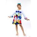 children girls latest design colorful air balloon printed western party wear dresses