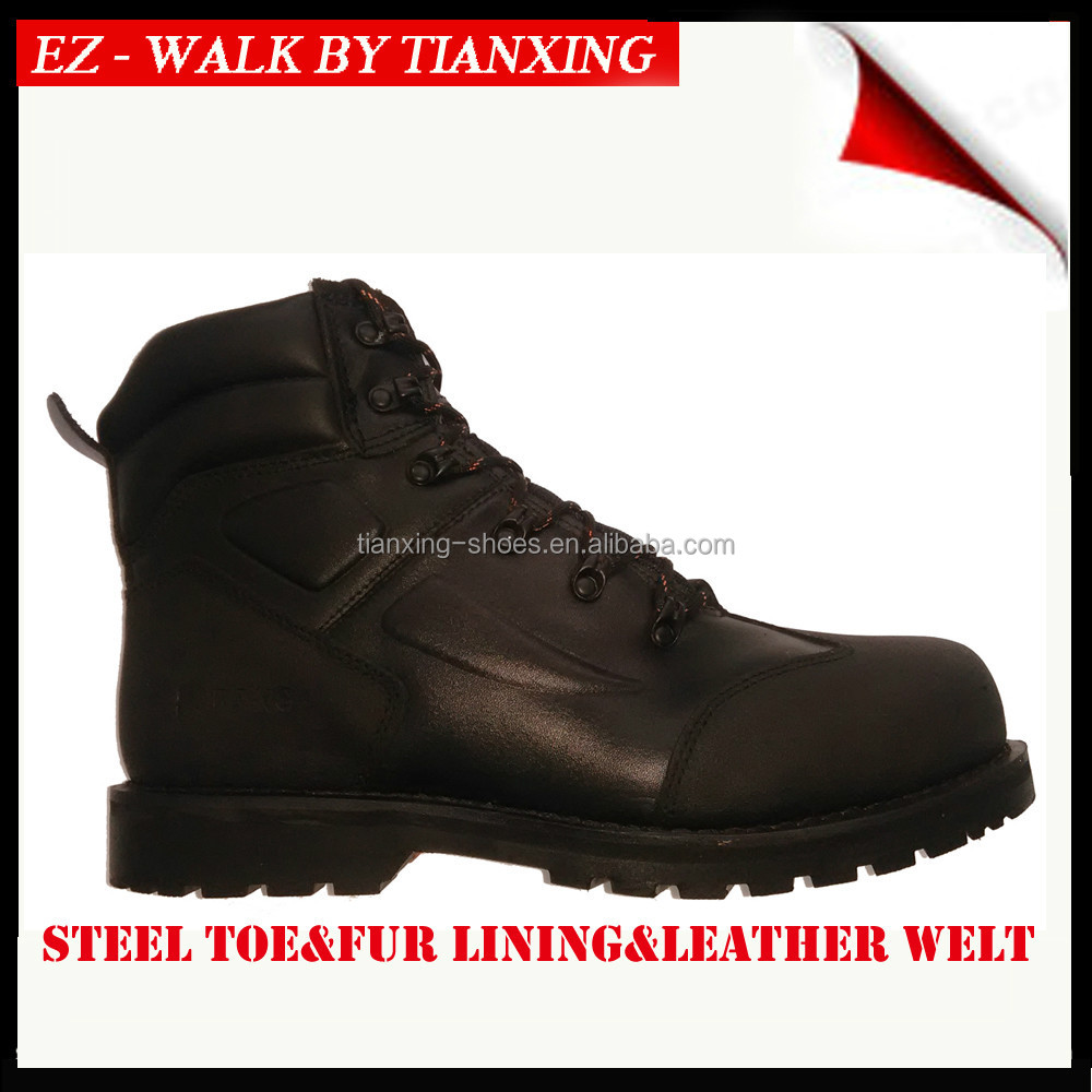 6 inch winter work boots with steel toe and genuine fur lining
