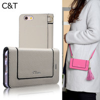 C&T Wallet Purse Clutch Folding Cover Shoulder Strap PU Leather Cases for Apple iPhone 7