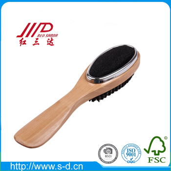 3 in 1 factory clothes dry cleaning brush wooden lint brush with shoe horn for sale