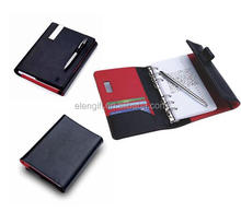 China Factory High Grade Promotional A5 Hardcover Notepad, PU Leather Notebook With Metal Ballpoint Pen