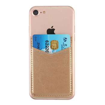 3M adhesive Slim Leather mobile Phone Credit Card Holder Wallet