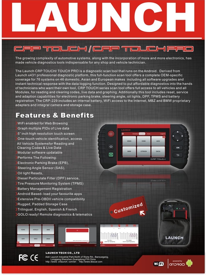 Access all vehicle systems for reading and clearing codes&Live Data Based on Android Launch CRP Touch Pro diagnostic Scanner