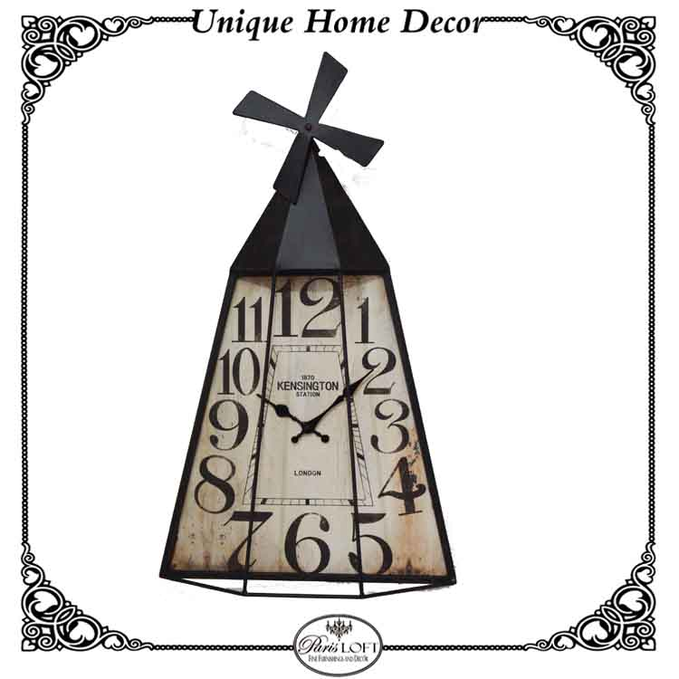 Antique Windmill Shape Metal Clock