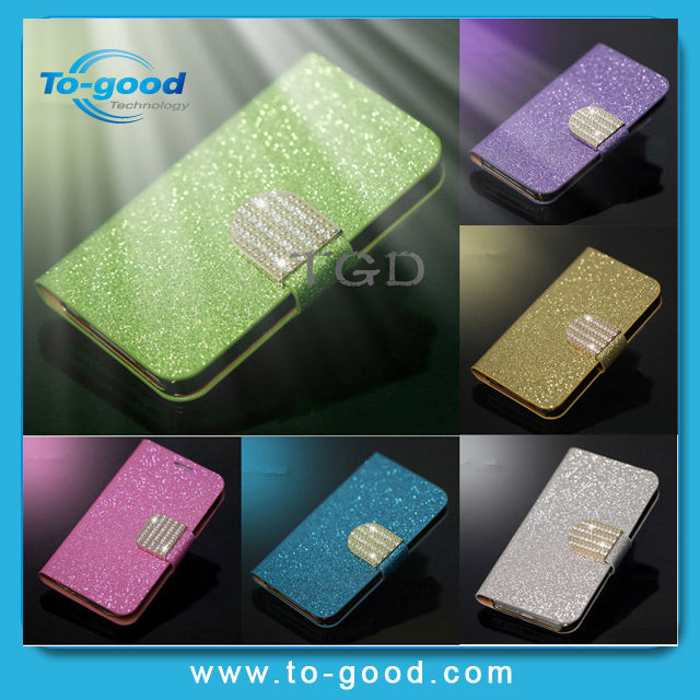 Luxury Glitter Diamond PU Wallet Leather Phone Cases For Iphone 4 4S, Flip Buckle Stand Card Holder For Iphone 4 Case Cover