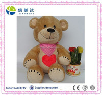 Smile teddy bear with heart beat plush stuffed toy