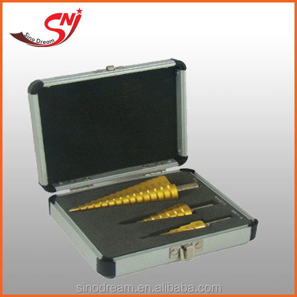 Titanium Coated straight flute Twist Drill Step Drill Bit with metal package