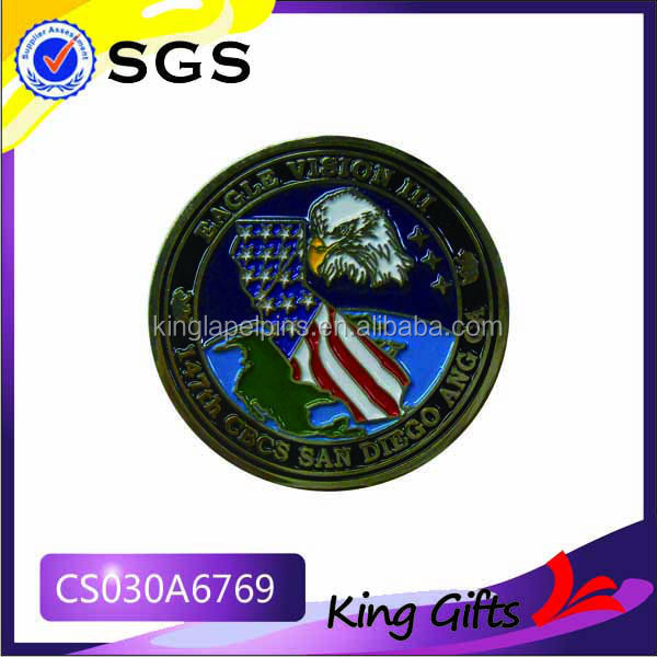 United States gold challenge coin with eagle and flag logo