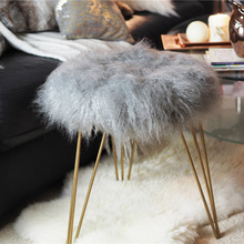 Beautiful Mongolian Wooden Lamb Wool Stool Cover for Living Room