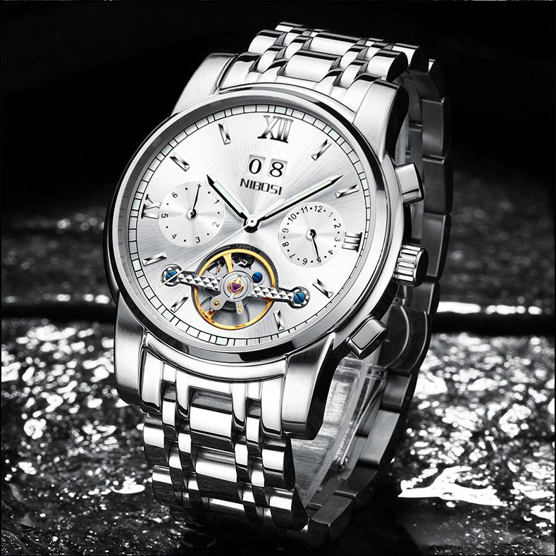 Factory directly sell automatic skeleton watch mechanical black mens