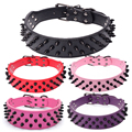 3ROWS Large spike weighted collar for breeds,leather pet products for trainer