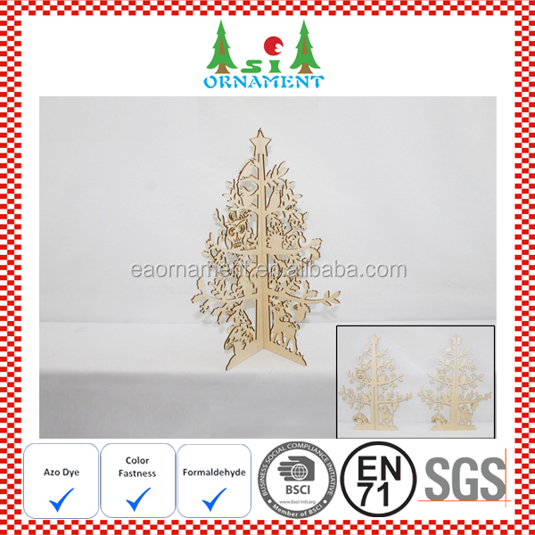 laser cut wooden tree ornament for christmas decorations