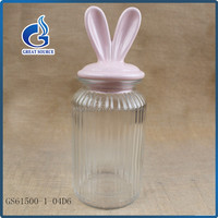 High quality Rabbit design Ceramic Lid Glass Storage Jar Glass Canister wholesale