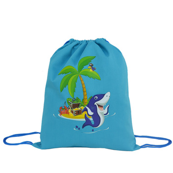 2018 cheap custom fabric printed kids gym canvas cotton drawstring bag wholesale