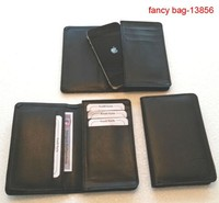 Trendy genuine leather mens cell phone wallet handmade