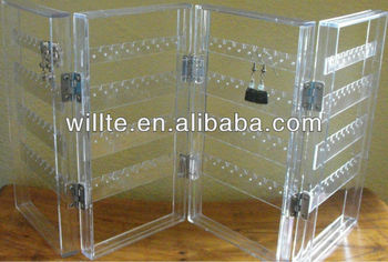 2013 hot-sale folding clear Acrylic jewelry organizer,earring display,plexiglass jewellery display holder