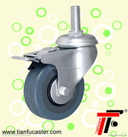 Grey rubber trolley caster wheels,adjustable castor