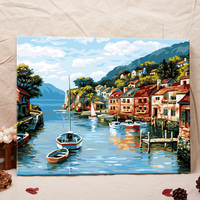 Free mind free painting peaceful little town scenery oil painting paint by numbers for adults free