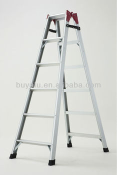A Frame Aluminum Folding Ladder in Silver Anodized with Dual Purpose