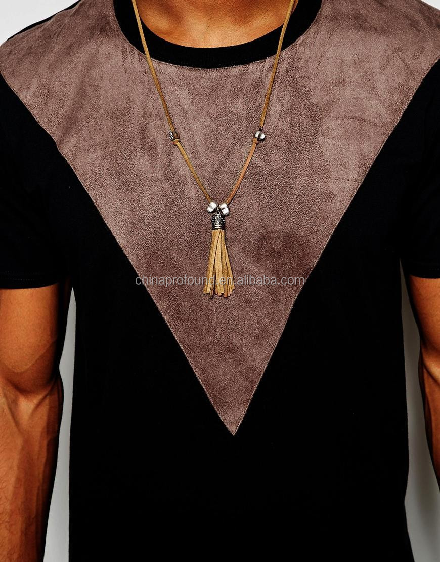 Customized plain t shirt with brown faux fur patch men fashion t shirt