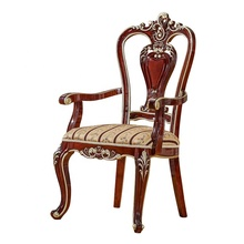 Noble Elegant Solid Wood Carved Arm Dining Chair