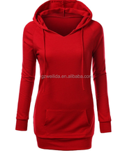 wholesale long line womens fashion cotton plain long hoodie dress