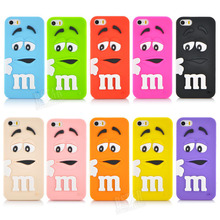 New style M&M'S Chocolate Rainbow Beans beans cartoon Soft silicon rubber material Cover phone case for iphone 5 5s