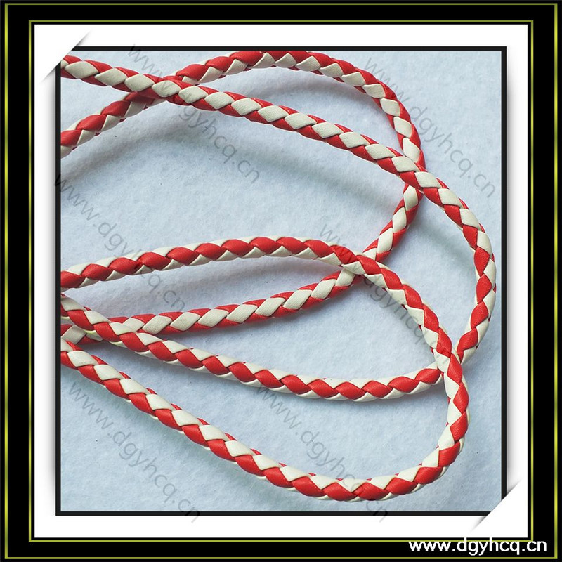 New arrival microfiber type round leather cords four stand knited hide rope for decoration