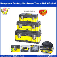 Two-layer black and yellow plastic PP tool cabinet box portable fittings box the vehicular storing box multifunction toolbox