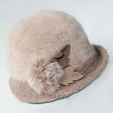 Custom ladies wool roll brim fur rabbit plush winter fashion bowler party formal hat