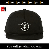 Guangzhou Cap Manufacturer Promotional Flat Peak 5 Panel Embroidery Patch Logo Black Snapback Hat Cap