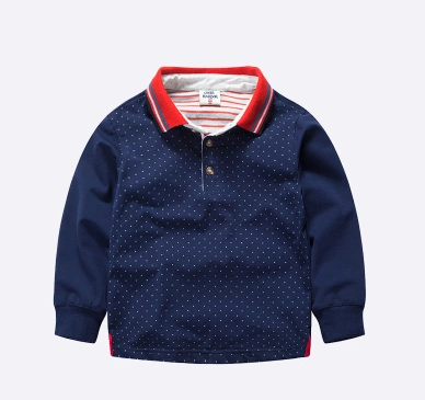 boys long sleeved best T-shirt Lapel POLO Children's clothing