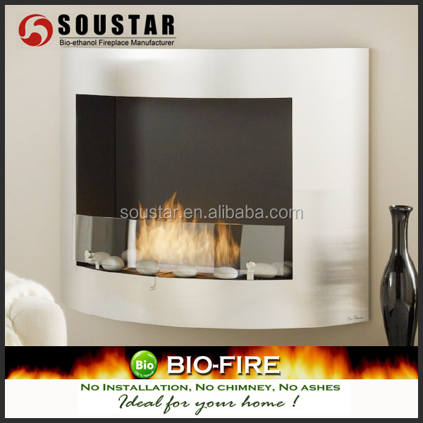 2016 curved stainless steel wall mounted bio ethanol fireplace