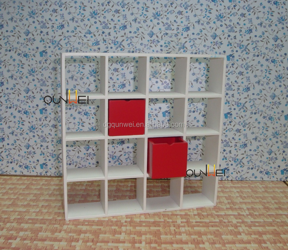 1:12 Scale Dollhouse Miniature Furnitures White Wooden Display Rack Book Shelf QW60479