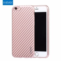 X-Level Top Lady Style Multi Color Carbon Fiber Texture Soft TPU Phone Shell Anti Scratch Cover Case for iPhone 6/6S/Plus