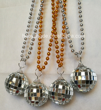 Jumbo Mardi Gras beads Large Silver Disco Ball pendant Party Beads Manufacturer