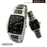 alibaba china two tones quartz stainless steel black watch