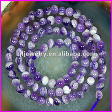 KJL-BD5044 Natural Polished Purple Round Agate Beads