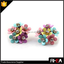 Bib Colorful Paint Multi Small Alloy Flowers Earring