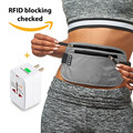 RFID Money Belt for Travel with Worldwide Travel Adapter