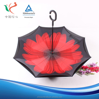 Chinese factory supply beautiful sea print inverted umbrella online for sale
