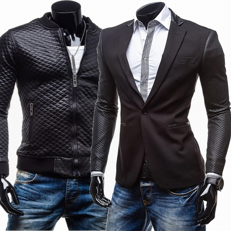 China Men's Slim Fit Fancy Suits Blazer Jackets With Leather Sleeves