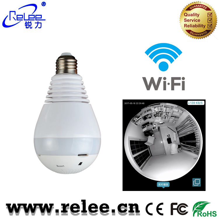 Shenzhen popular wireless IP camera 360 degree wifi bulb CCTV camera 960P indoor home security web cams network camera