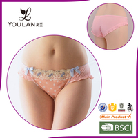 sweet and lovely breathable dot print girl underwear panty models